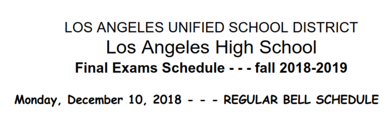 Final Exam Week Bell Schedule Featured Photo