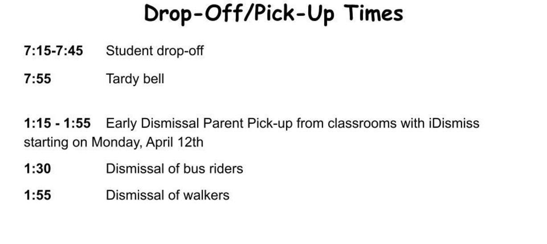 Updated drop-off & pick-up schedule