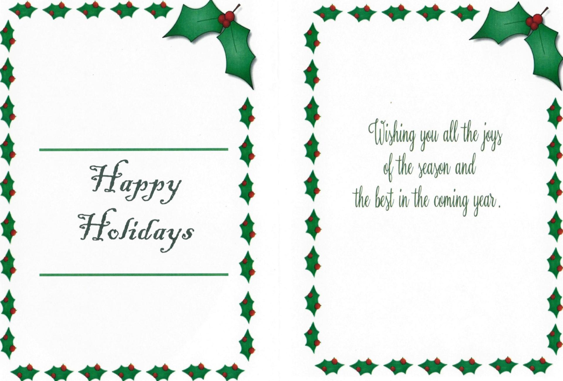a photo of a holiday card designed by a Baker High CTE Student