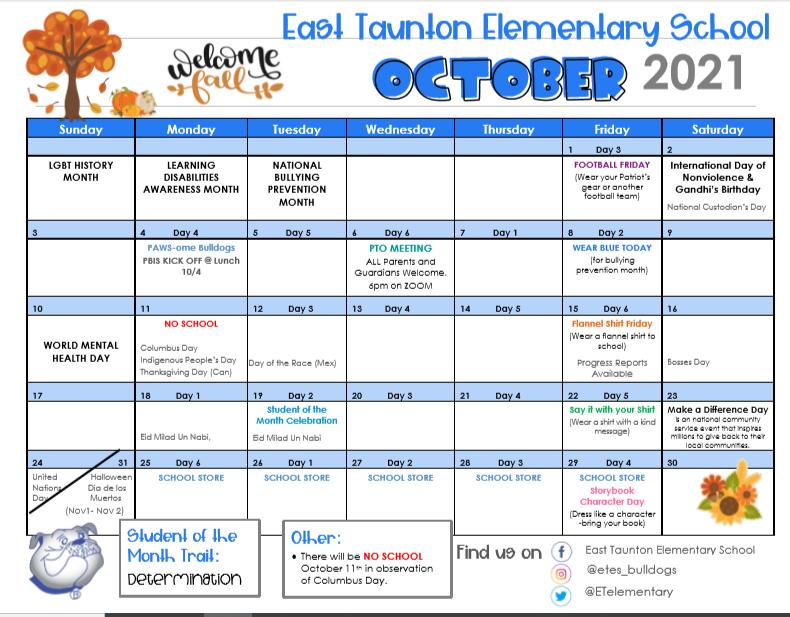 October School Calendar Featured Photo