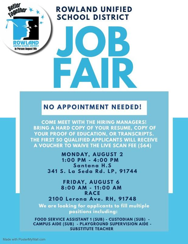 Come Work for Us! RUSD Job Fair August 2 and August 6 Featured Photo