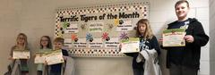 January's Terrific Tigers of the Month for being Respectful: (left to right) Ellie Reed (2nd), Paisley Salmons (1st), Zachary Brackett (K), Taylor Crass (3rd), Brady Harvey (5th).