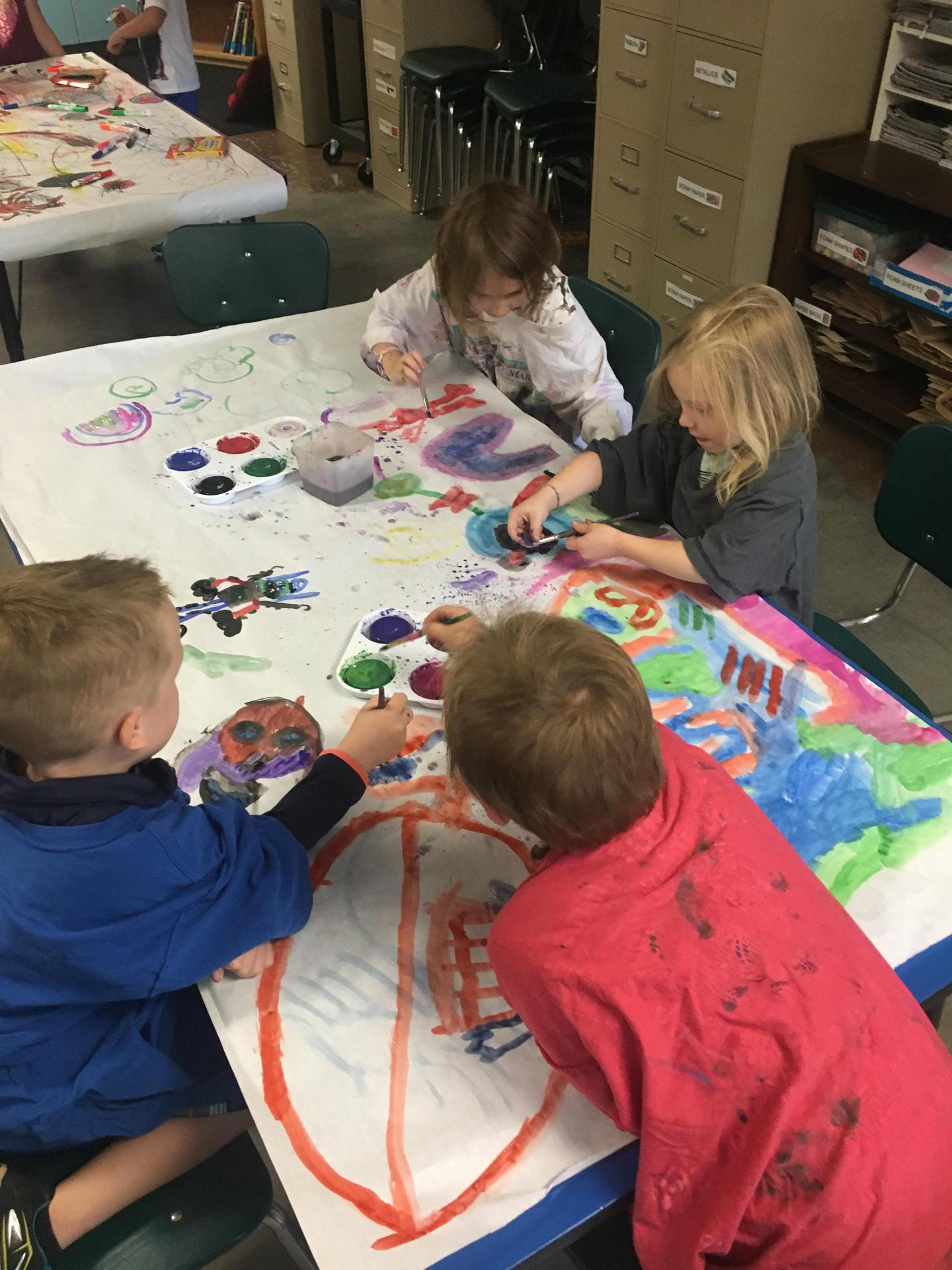 1st graders exploring color