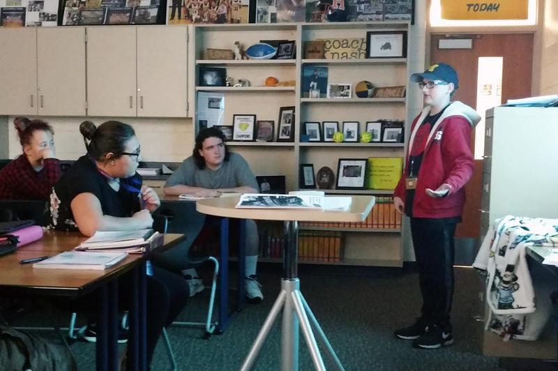 Samuel giving a presentation to the Teen Leadership class.