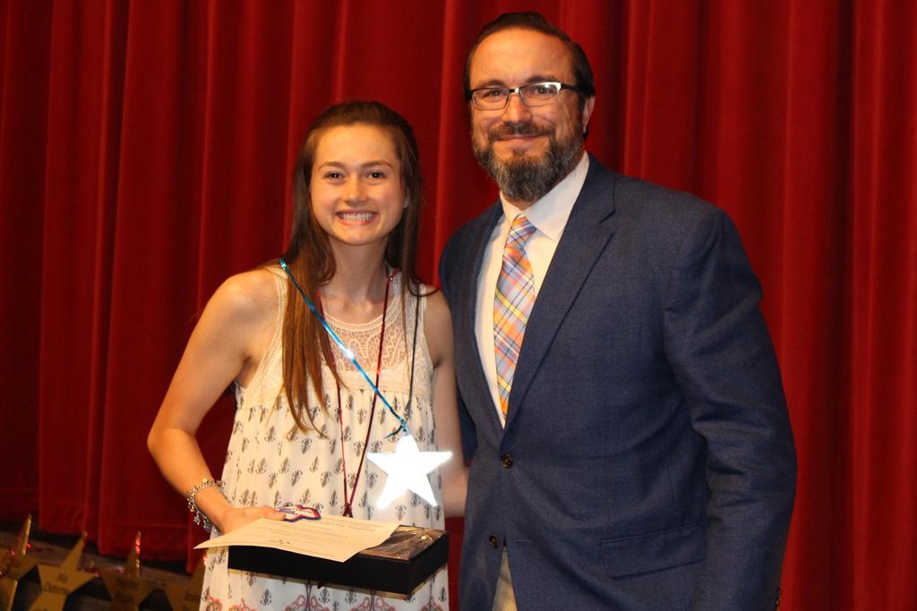 TASSP All-State Academic Excellence Award Railie Calhoun accepts award from Jason Valentine, WHS Principal
