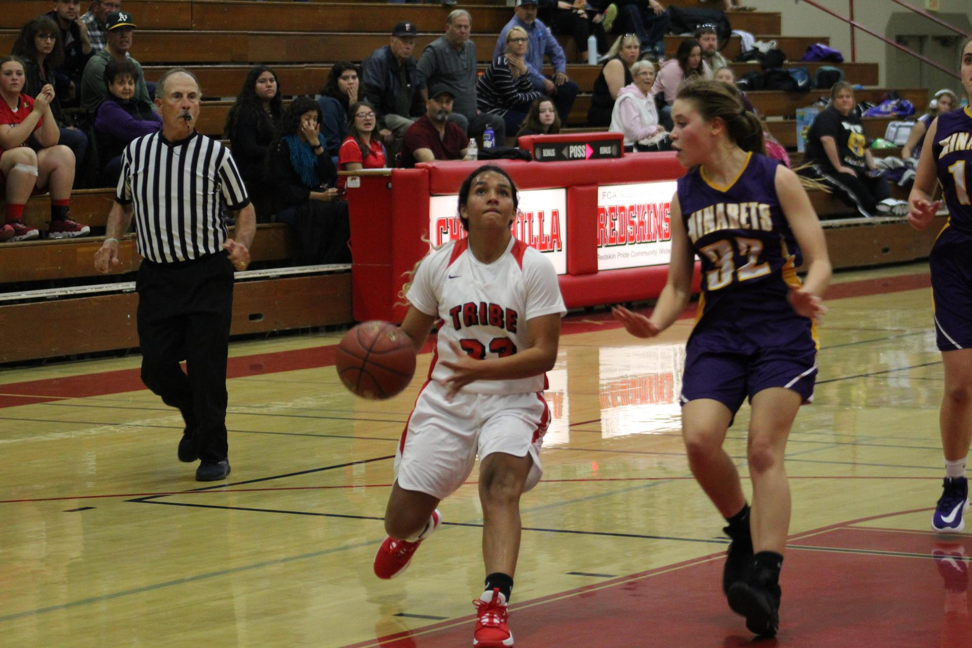 Kadenyce Boyett dribbling the ball