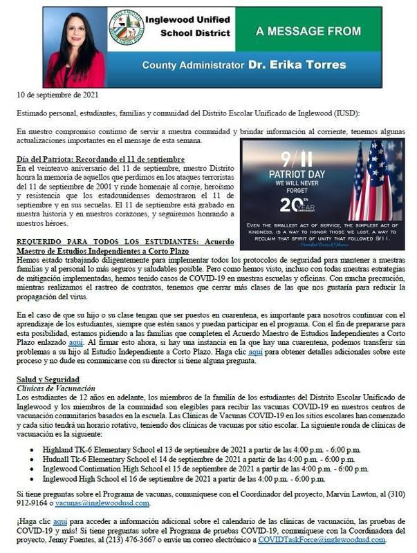 Comunicación a Padres, Familias, y Comunidad de IUSD - 9-10-2021 Featured Photo