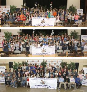 Edinburg CISD elementary and middle school science fair winners pose for a photo during the awards presentations at Canterbury Elementary School and the Edinburg Activity Center. Pictured top to bottom: 2019 Edinburg CISD Elementary School Science Fair winners Campus Cluster A (grades kinder-fifth), 2019 Edinburg CISD Elementary School Science Fair winners Campus Cluster B (grades kinder-fifth), and 2019 Edinburg CISD Middle School Science Fair winners (grades sixth-eighth).
