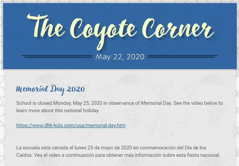 Screenshot of our May 22 Coyote Corner