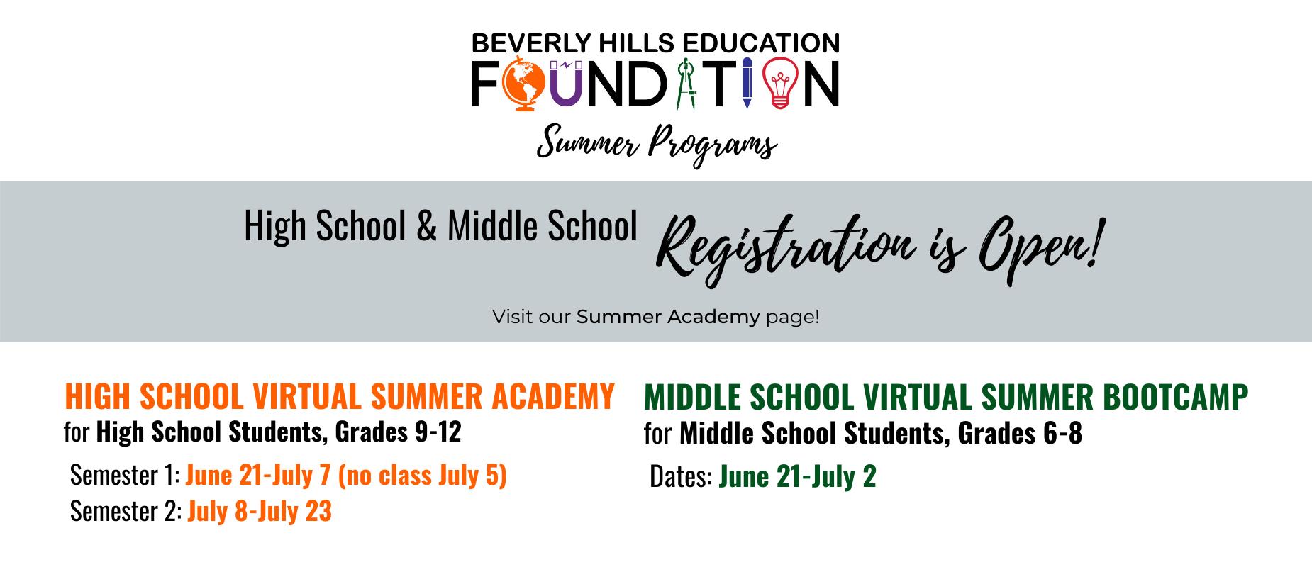 HS MS Registration is Open