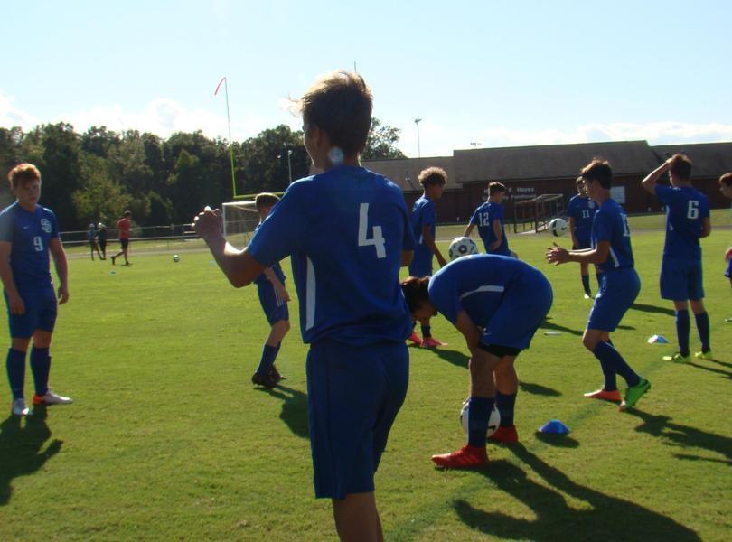 Men's Soccer Team on field