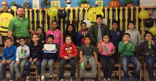 Spelling Bee participants with Mr. Nevarez