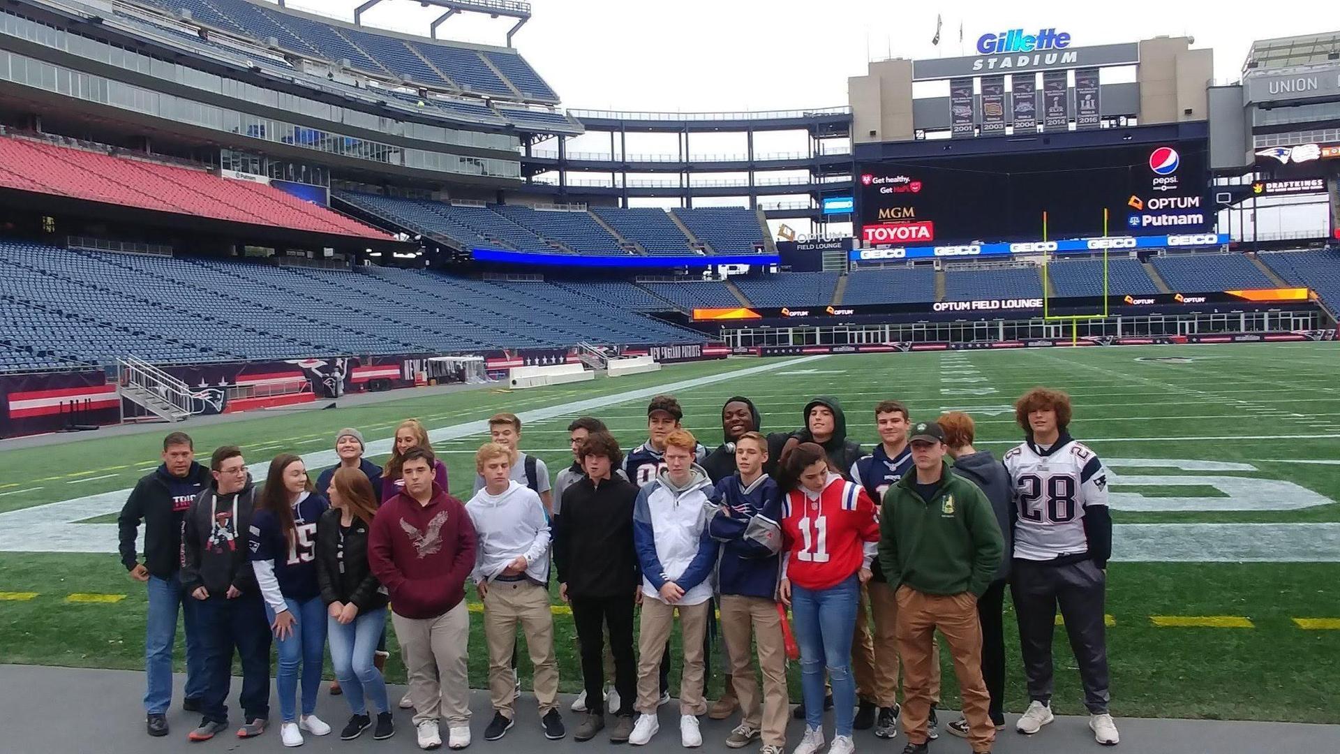 Marketing students visiting Gilette Stadium