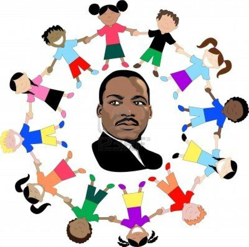 Picture of MARTIN LUTHER KING, JR. with children holding hands in outside circle.