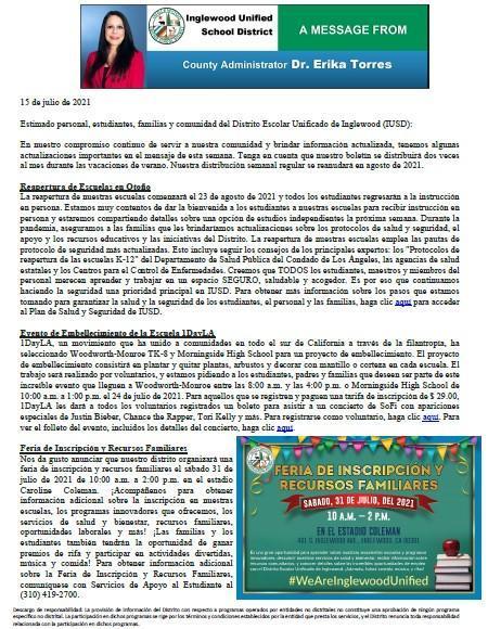 Comunicación a Padres, Familias, y Comunidad de IUSD - 7-15-2021 Featured Photo
