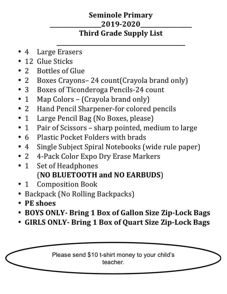 Seminole Primary School Supply List