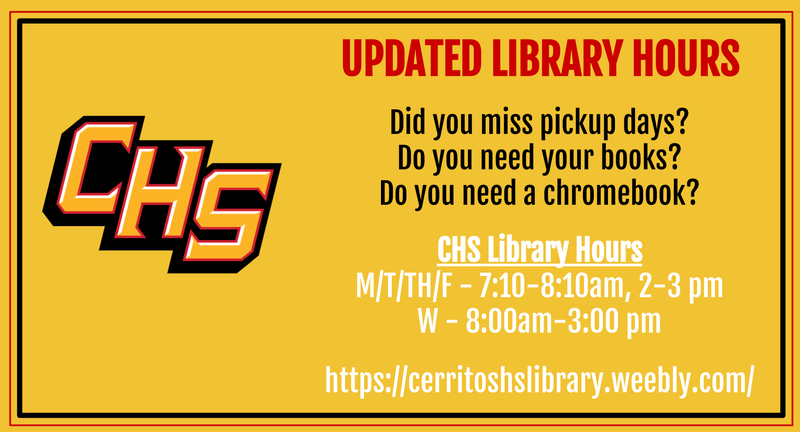 CHS Library Hours M/T/TH/F - 7:10-8:10am, 2-3 pm W - 8:00am-3:00 pm Most up-to-date hours and info can be found on their page. Click above!