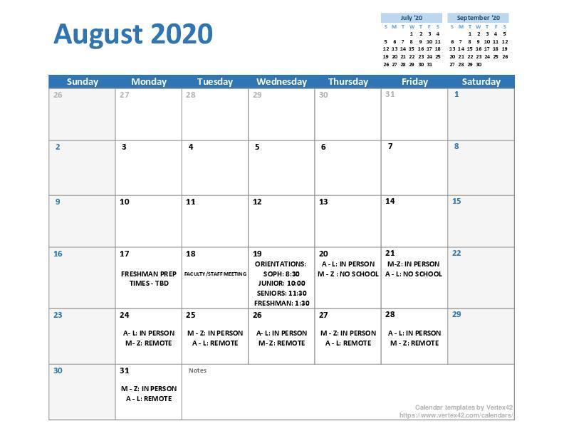 August 2020 Daily Calendar