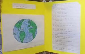 student drawn earth with writing next to it