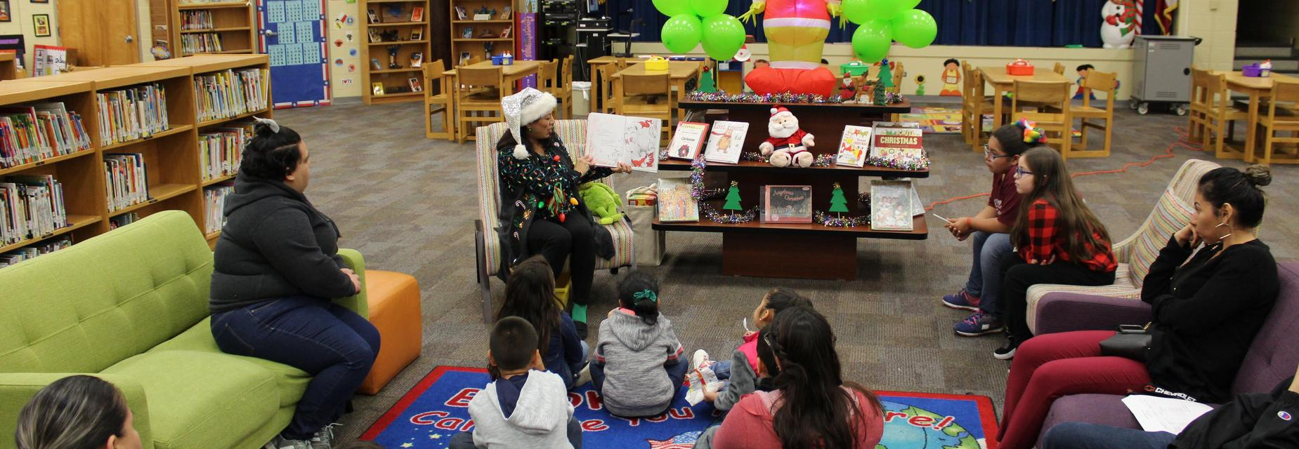 Story time in the library for literacy night
