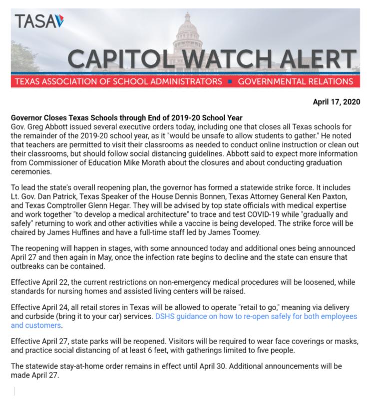 Gov. Abbott Announced School Closure Through End of Year Thumbnail Image
