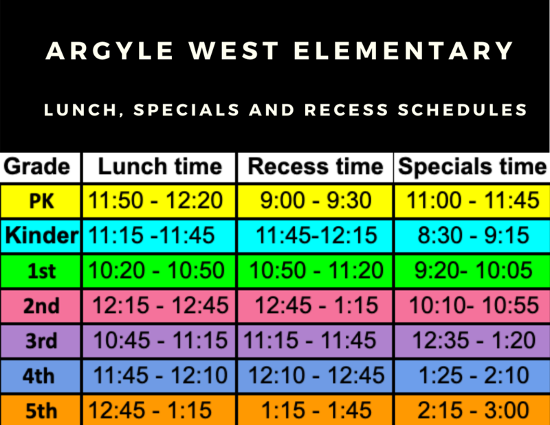 lunch, recess and specials schedules
