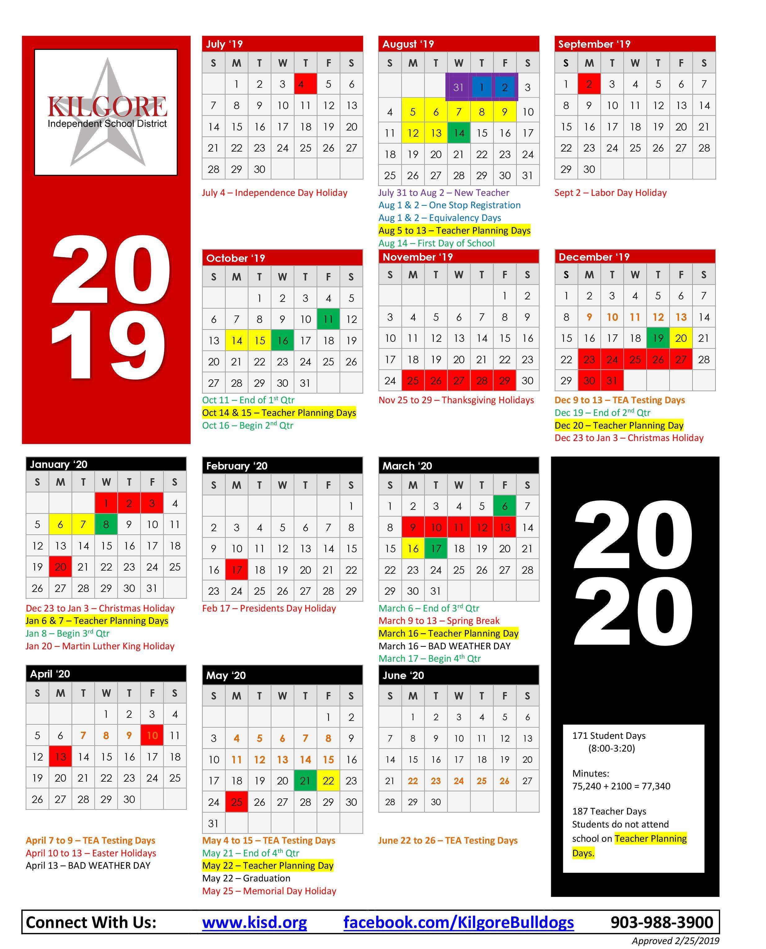 Presidents Day 2020 Calendar.Kilgore High School
