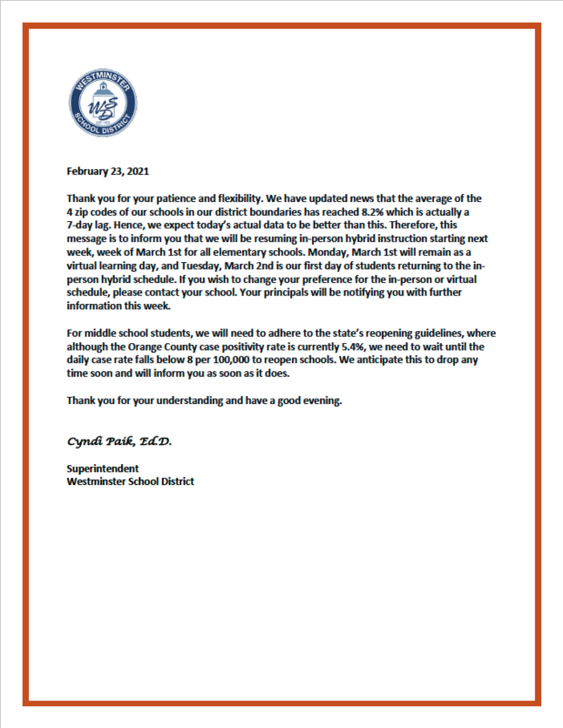 A Message from Superintendent Dr. Paik - February 23, 2021