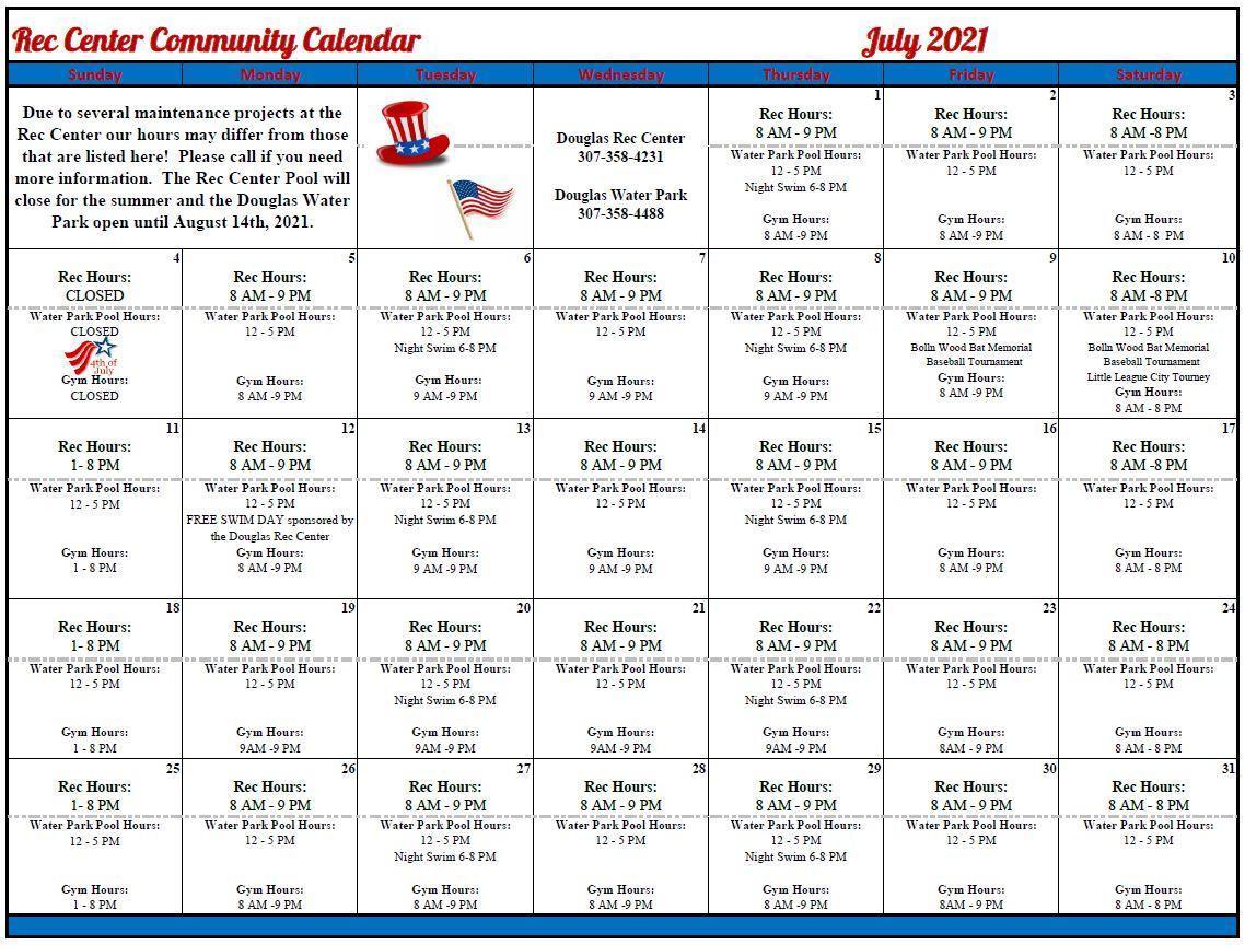 2021 July community calendar