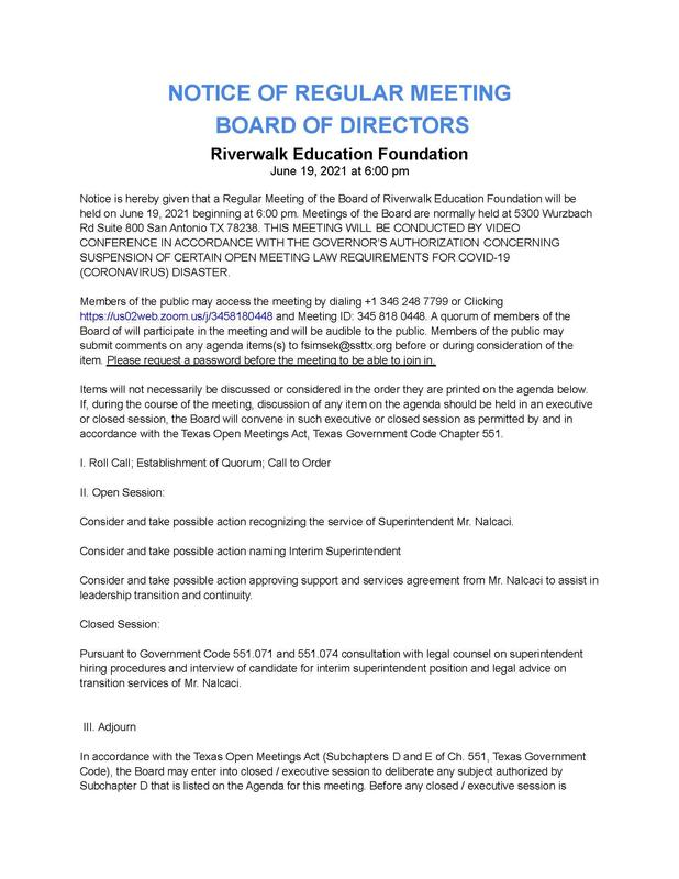 Board Meeting Agenda - June 19 Featured Photo