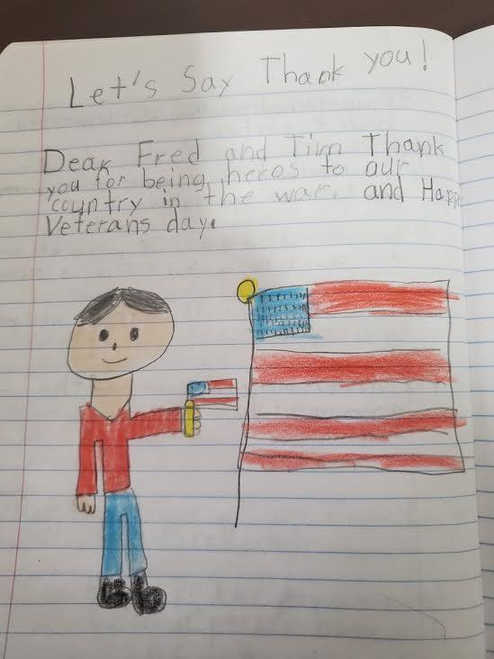 Student's letter with drawing