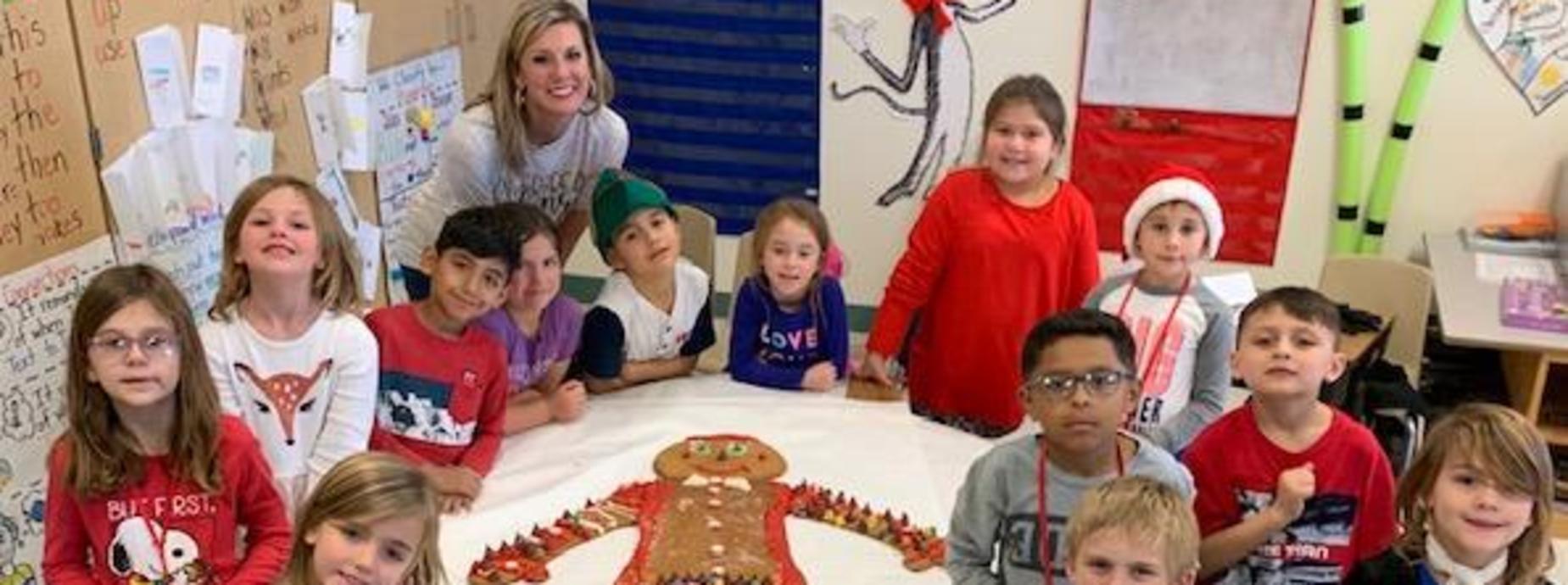 Mrs. Borgfeld's Class made a life size Gingerbread man!