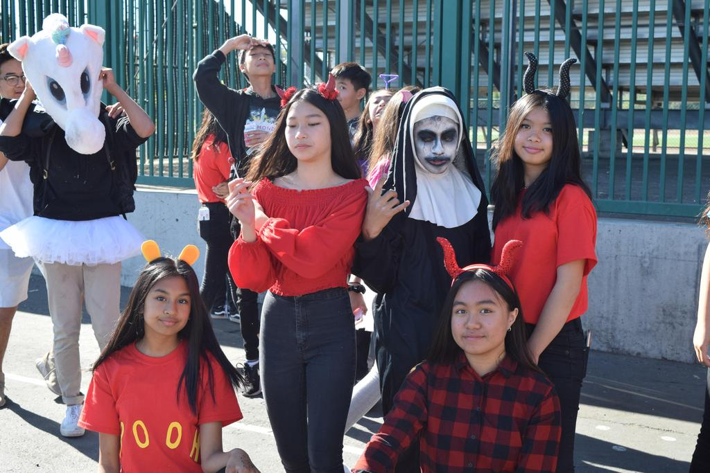 Several students dressed up as devils and ghouls.