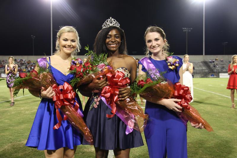 Congratulations to this year's Homecoming Court. From left to right: Annabelle Summers -- 1st runner up, Jaylah Barr -- Homecoming Queen, Aliyah Shealy -- 2nd runner up