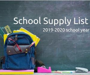 School backpack in front of chalkboard (school supply list 2019-2020 school year)