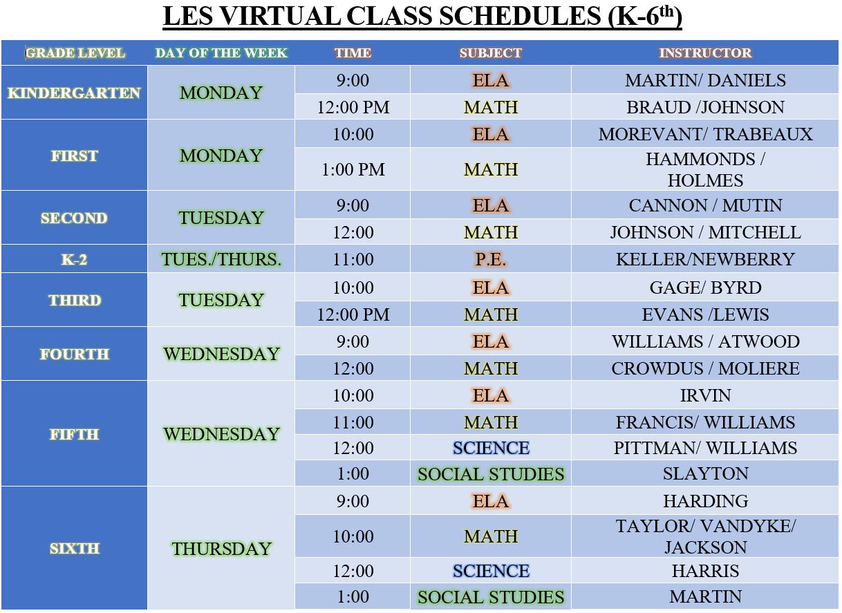 Virtual Schedules