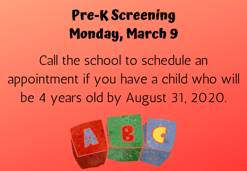 ABC Blocks with text listing date of Pre-K screening.