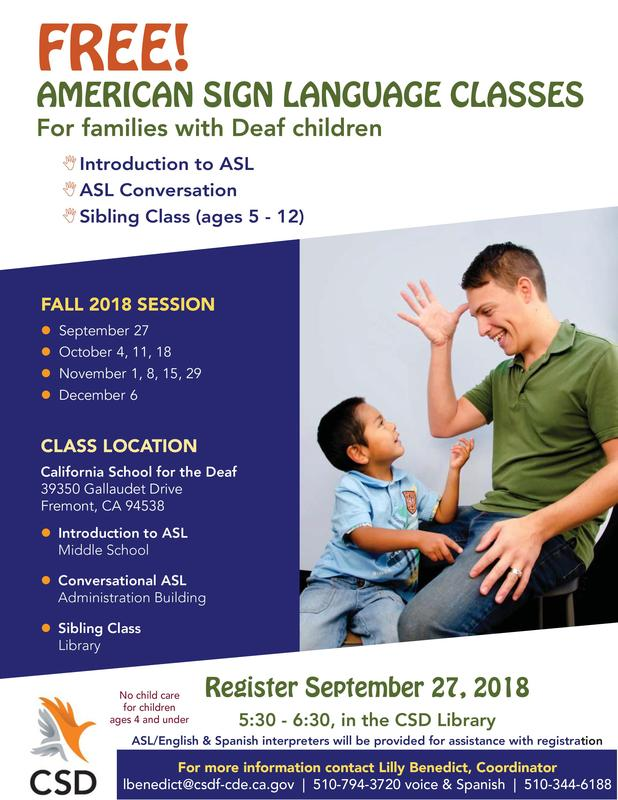 Fall 2018 ASL classes for families with Deaf children