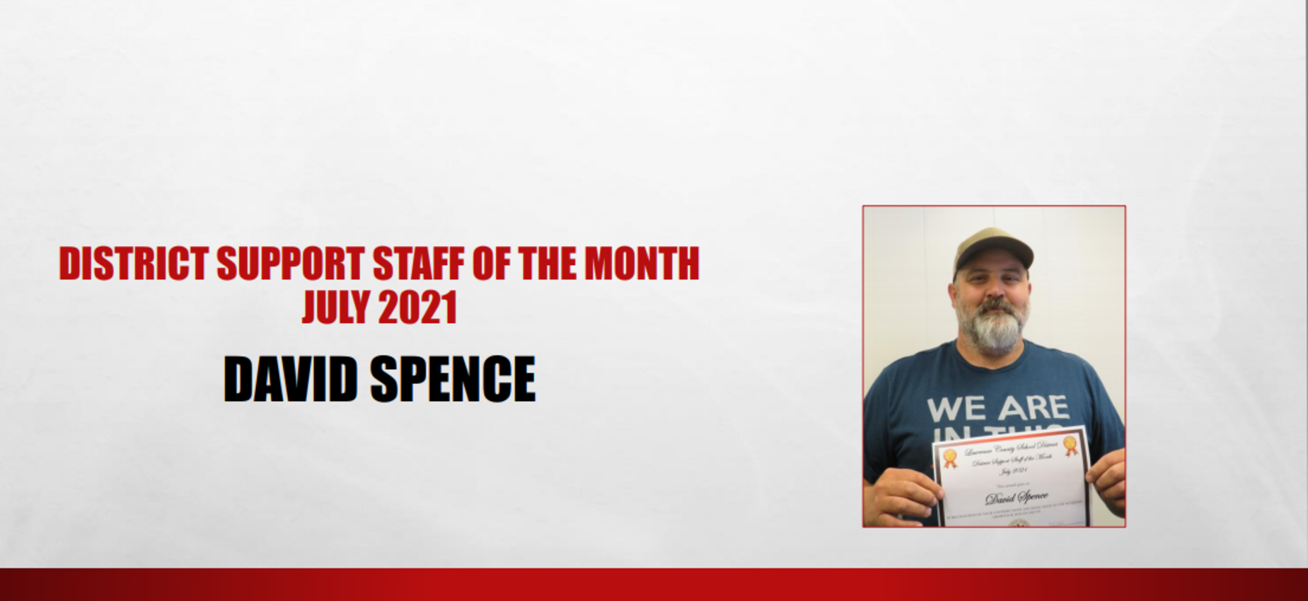 Support Staff Member of the Month July 2021 David Spence