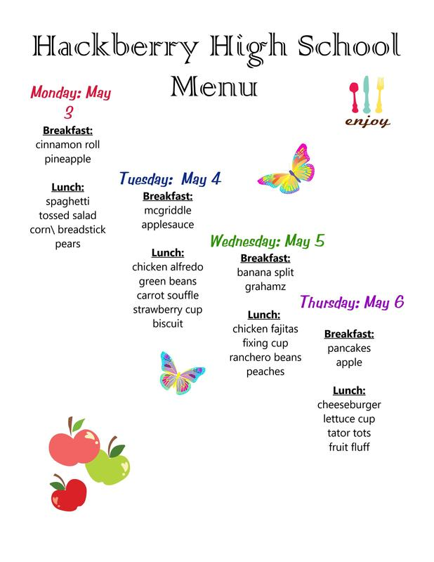 May 3-6 Breakfast and lunch menu