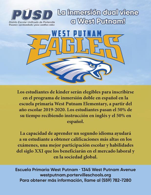 West Putnam Dual Immersion Flyer - Spanish