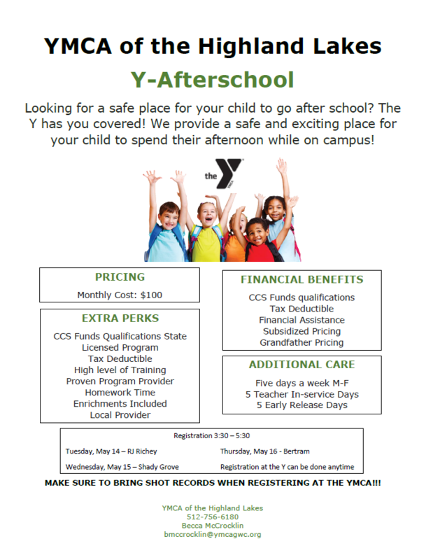 AFTERSCHOOL PROGRAM AT THE YMCA FOR 2019-20 SCHOOL YEAR Thumbnail Image