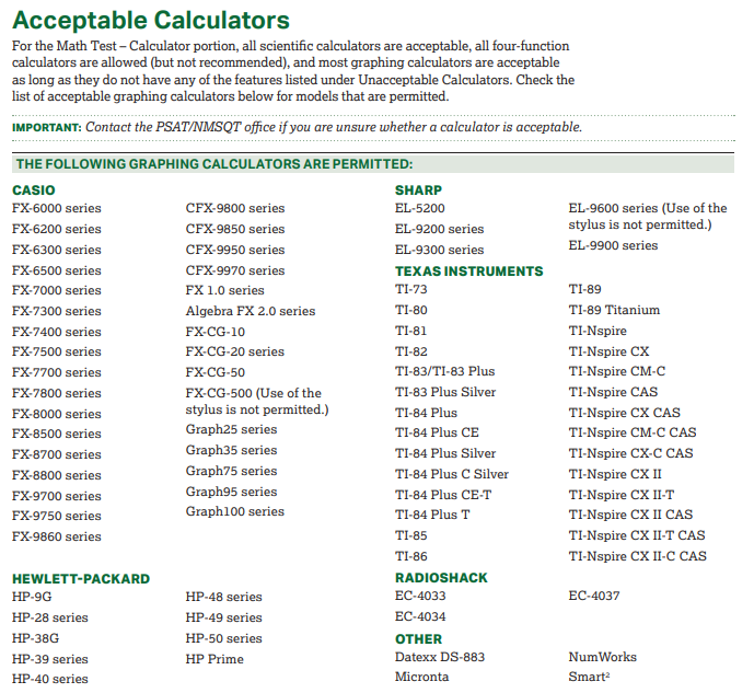 Acceptable Calculators