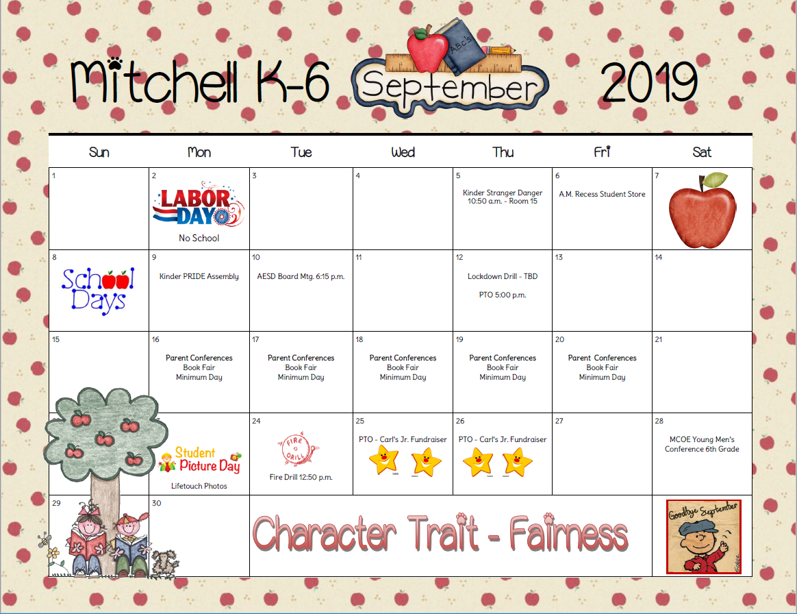 September Calendar for Parents