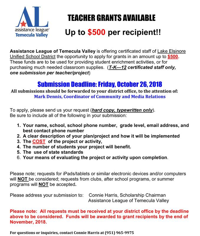 Assistance League Teacher Grants Flyer: Apply October 26, 2018. Download pdf flyer on this page.Oct