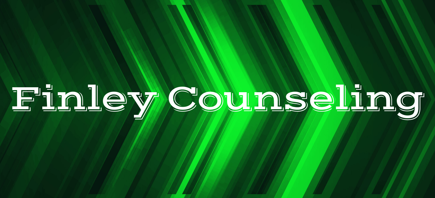 graphic with green background reads Finley Counseling