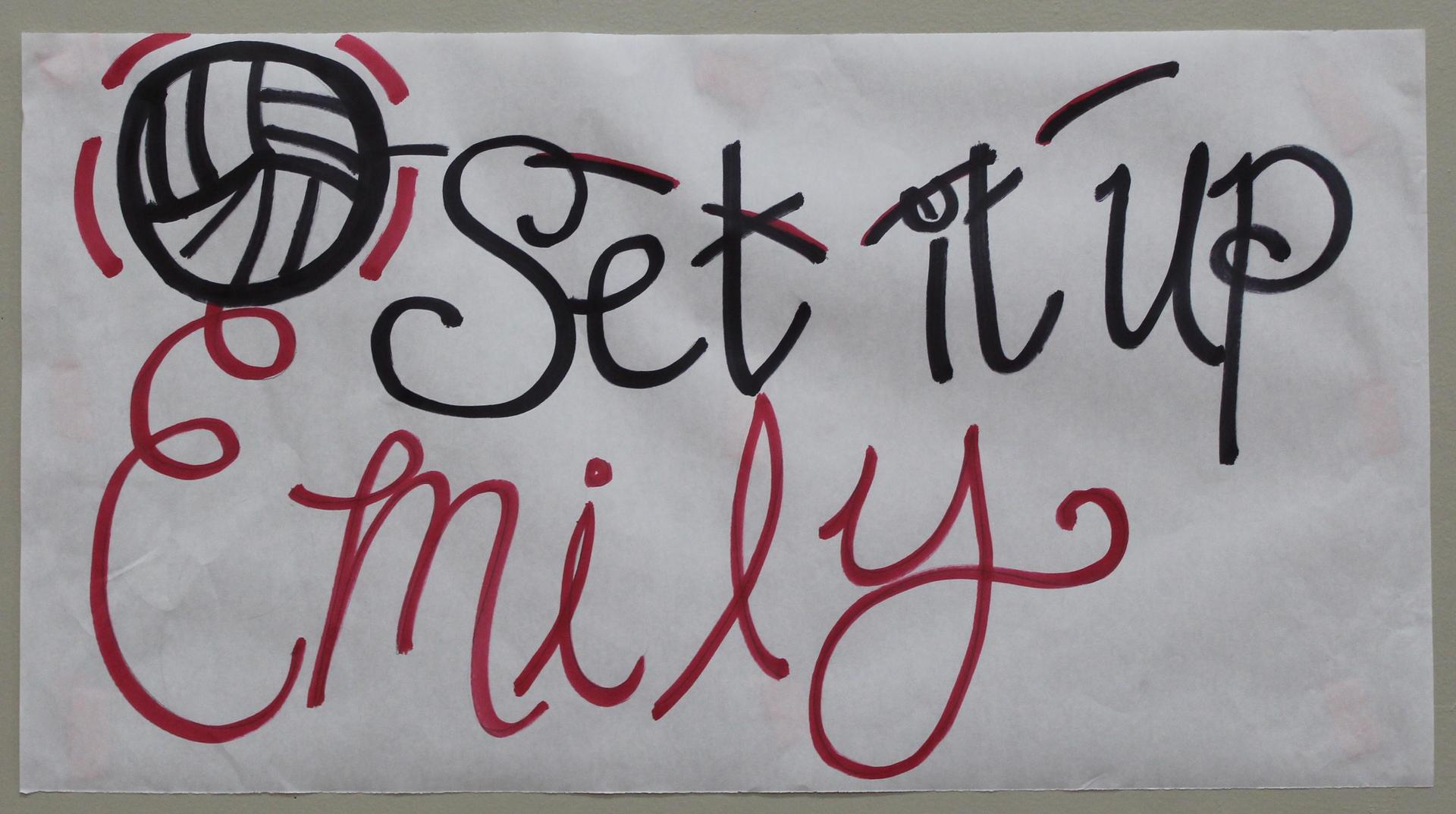 Emily Seals 'Set it up' poster on Volleyball Senior Night