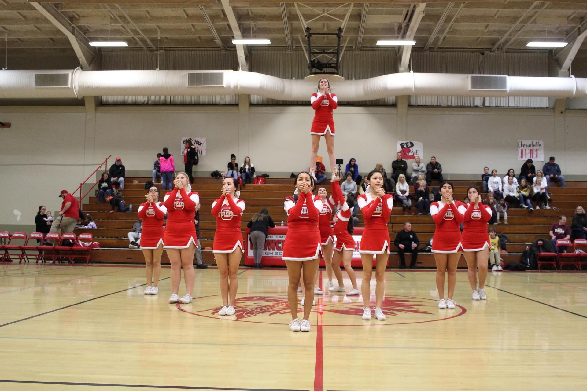 Cheer at the basketball game against Sierra
