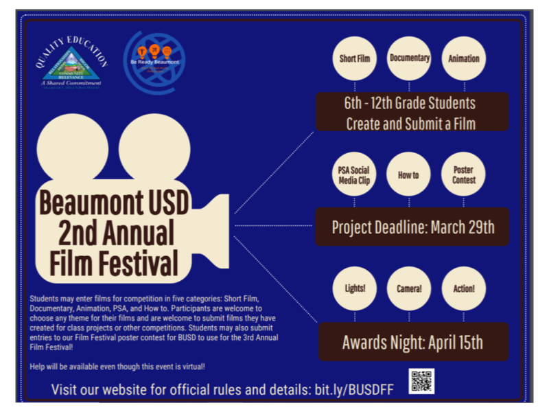 Beaumont USD 2nd Annual Student Film Festival Featured Photo