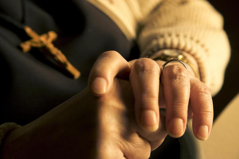image of a Felician Sister's hands folded in prayer